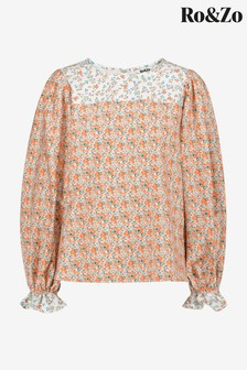 Ro&Zo Orange Mix & Match Floral Puff Sleeve Top