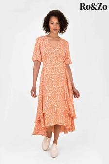 Ro&Zo Orange Ditsy Double Tier Wrap Dress