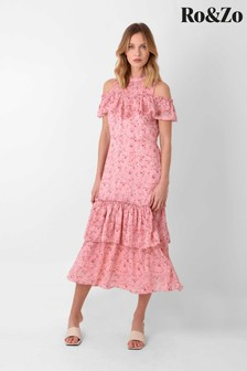 Ro&Zo Pink Ruffle Cold Shoulder Tiered Dress