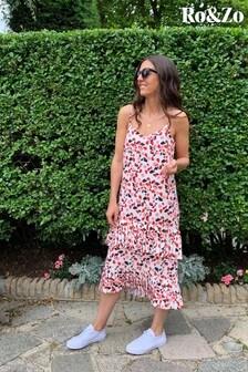 Ro&Zo Pink Confetti Print Pleat Detail Cami Dress