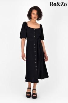 Ro&Zo Black Square Neck Button Through Dress