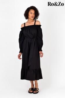 Ro&Zo Black Cotton Bardot Tiered Dress