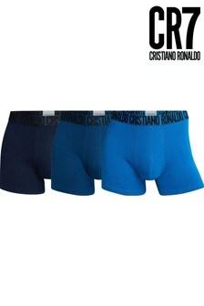 CR7 Mens Blue Cotton Trunks 3 Pack