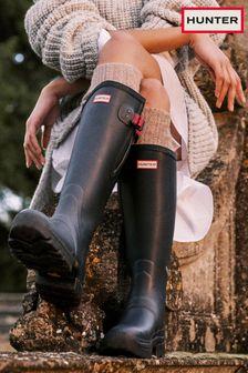 Hunter Blue Balmoral Adjustable Neoprene Lined Wellington Boots