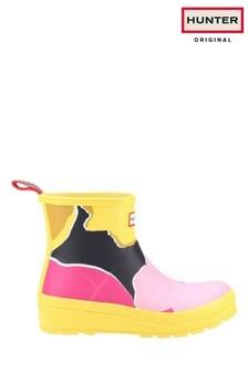 Hunter Yellow Play Flower Camo Print Short Wellington Boots