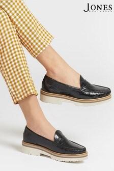 Jones Bootmaker Black Greenwood Ladies Chunky Leather Loafers