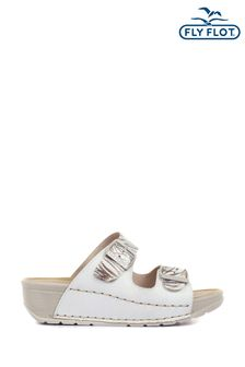 Fly Flot White Ladies Dual Fit Buckle Mules