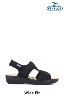 Fly Flot Black Wide Fit Ladies Touch-Fastening Sandals