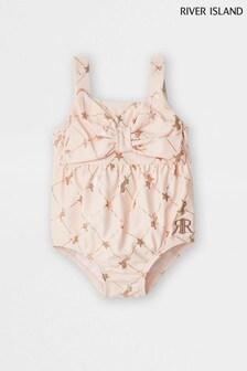 River Island Pink Bow Unicorn Swimsuit