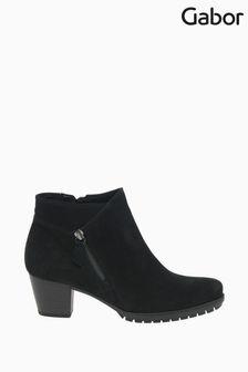 Gabor Olivetti Black Nubuck Oil Ankle Boots