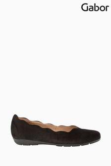 Gabor Resist Black Suede Ballerina Shoes