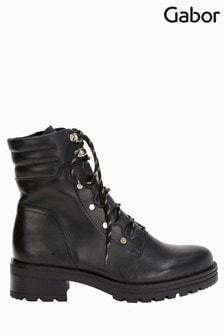 Gabor Safe Black Leather Ankle Boots