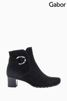 Gabor Hemp Black Suede Ankle Boots
