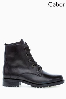 Gabor Prissie Black Leather Ankle Boots