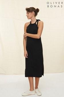 Oliver Bonas Black Tie Neck Knitted Midi Dress