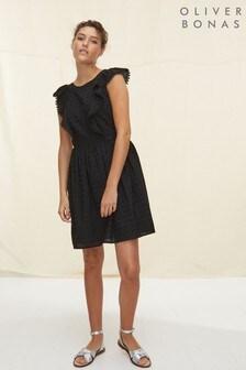 Oliver Bonas Black Black Broderie Mini Dress