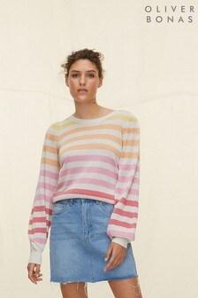 Oliver Bonas Pink Sparkle Stripe Jumper