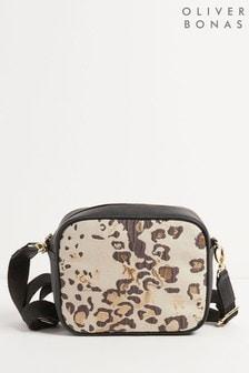 Oliver Bonas Black Mono Leopard Print Cross-Body Bag
