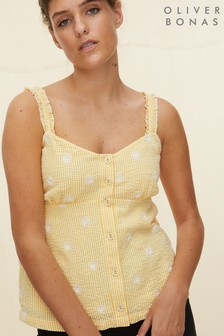 Oliver Bonas Yellow Gingham Embroidered Top