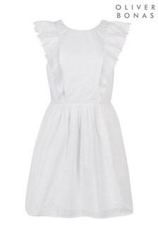Oliver Bonas White Broderie Mini Dress