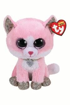 "TY Fiona Glitter Cat Beanie Boo Medium 10"" Soft Toy"