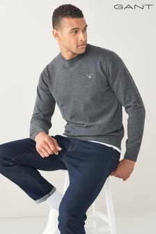 GANT Grey Superfine Lambswool Crew Sweater