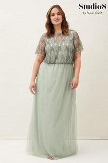 Studio 8 Green Tomasi Beaded Tulle Maxi Dress