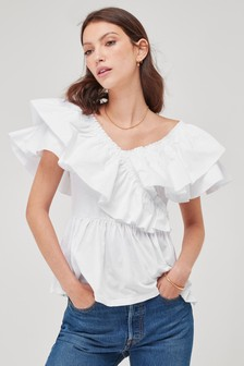 Short Sleeve Jersey Top With Cotton Woven Fabric Frill Detail
