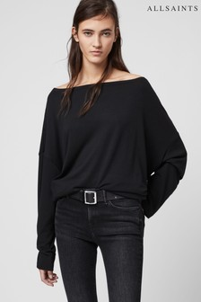 AllSaints Black Off the Shoulder Rita Top
