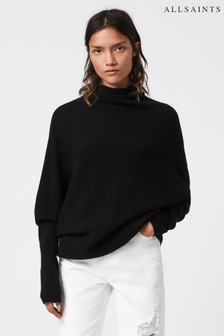 AllSaints Black High Neck Ridley Jumper