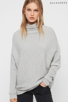 AllSaints Grey High Neck Ridley Jumper