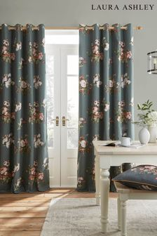 Laura Ashley Fern Green Rosemore Eyelet Curtains