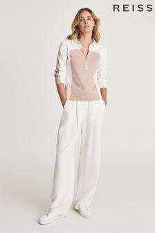 REISS Fernanda Pink Zip Neck Polo Shirt