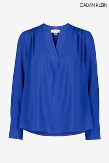 Calvin Klein Blue V-Neck Blouse