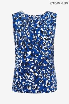 Calvin Klein Blue Animal Print Cami Blouse