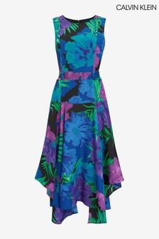 Calvin Klein Blue Floral Belted Dress