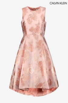 Calvin Klein Pink Floral Fit And Flare Dress