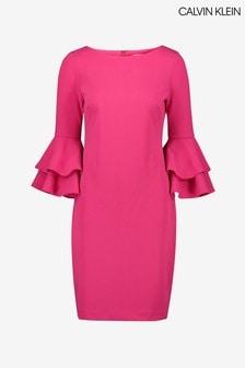 Calvin Klein Pink 3/4 Flutter Sleeve Dress