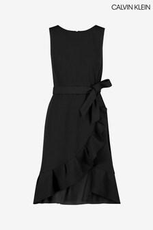 Calvin Klein Black Scuba Crepe Frill Hem Dress
