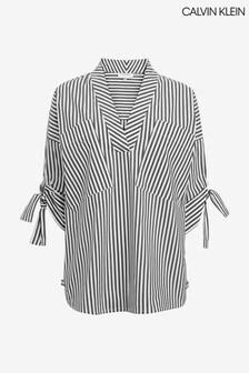 Calvin Klein Black Striped V-Neck Blouse
