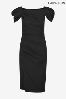 Calvin Klein Black Scuba Crepe Dress