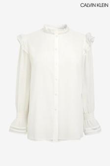 Calvin Klein White Frill Detail Blouse