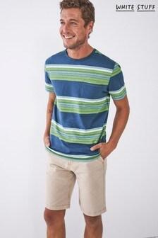 White Stuff White Print Slub Textured Stripe T-Shirt