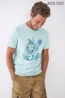 White Stuff Blue Cocktail Organic Graphic T-Shirt