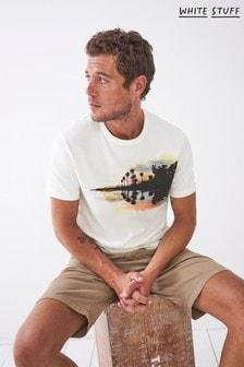 White Stuff White Dip Dye Organic Graphic T-Shirt