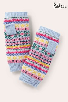Boden Blue Fairisle Fingerless Gloves