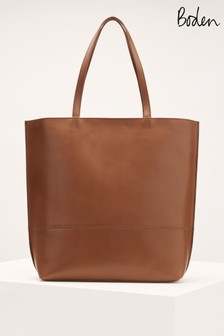 Boden Womens Tan Leather Tote Bag
