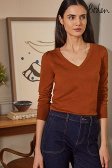 Boden Orange Cotton V-neck Jumper