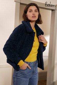 Boden Blue Teddy Bomber Jacket