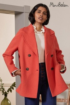 Boden Red Textured Wool Car Coat